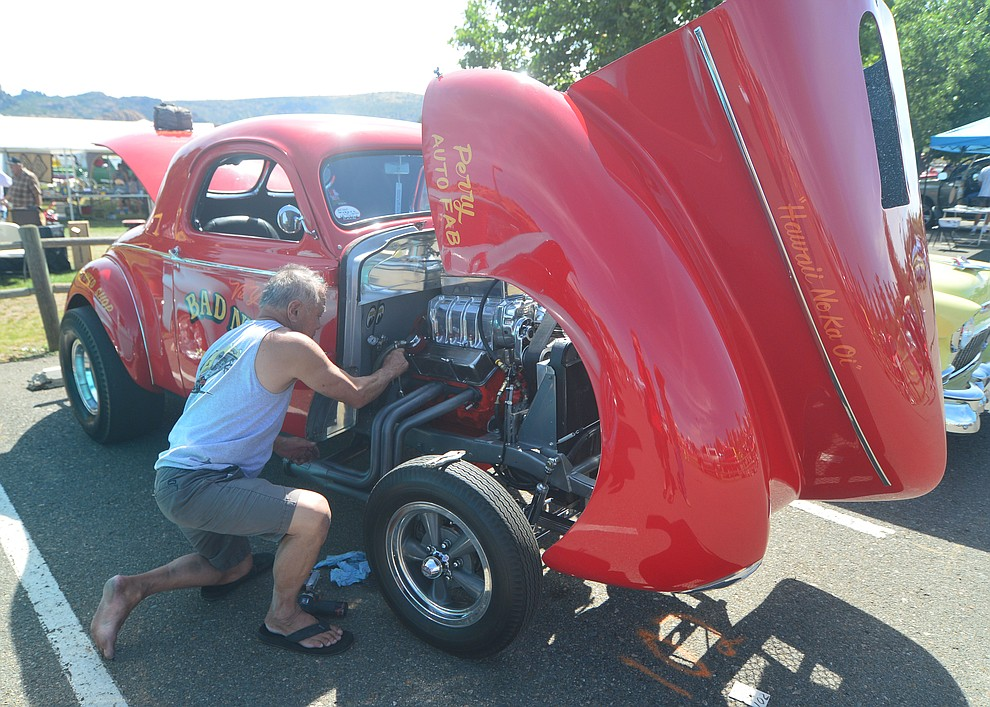 Some work being done on site at the 45th Annual Prescott Antique Auto Club Watson Lake Car Show Saturday, August 3, 2019, in Prescott. The show continues Sunday from 8 a.m. to 3 p.m. (Les Stukenberg/Courier)