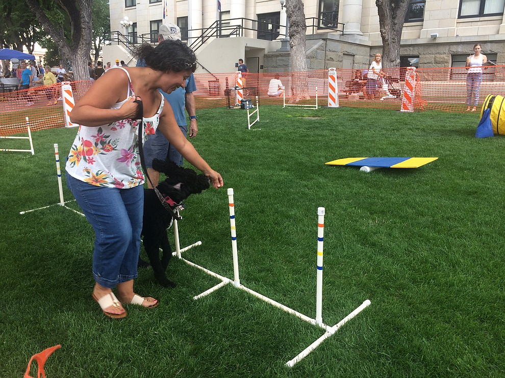 Michele Keck takes her dog Luna through the agility course at the Woof Down Lunch event at courthouse plaza Saturday, Aug. 3. (Jason Wheeler/Courier)