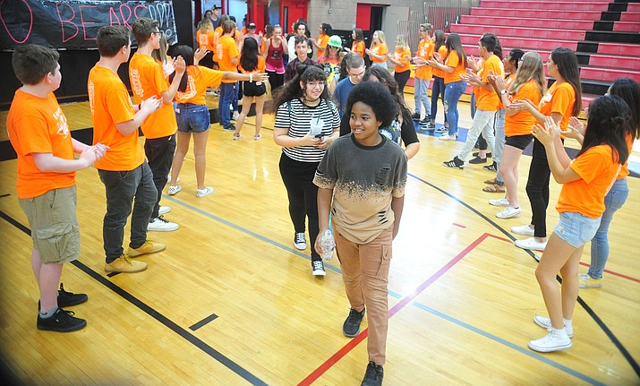 Bradshaw Mountain High School link crew, 66 students, welcome the 441 incoming freshmen to the campus in Prescott Valley Friday, Aug. 2, 2019. The link crew is a mentorship program for juniors and seniors to help transition freshmen to high school life. (Les Stukenberg/Courier)