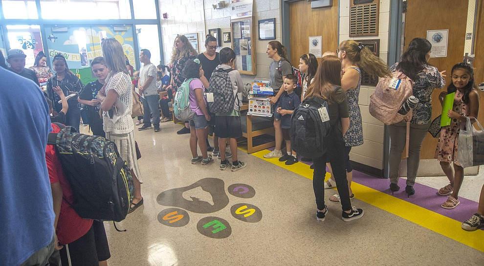 The office was busy as students in the Humboldt Unified School District returned to school at Coyote Springs Elementary School Monday, August 5, 2019, in Prescott Valley.  (Les Stukenberg/Courier)