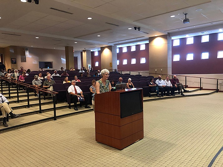 J'aime Morgaine, of Indivisible Kingman, speaks to the Mohave County Board of Supervisors on Monday, Aug. 5. (Photo by Agata Popeda)