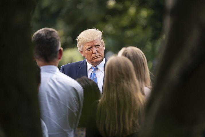 """President Donald Trump speaks with reporters on the South Lawn driveway of the White House on Friday, Aug. 2, 2019.  Trump said he wanted legislation providing """"strong background checks"""" for gun users. (Official White House Photo by Joyce N. Boghosian)"""