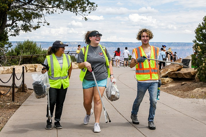 Alternative Break Citizenship students participate in daily development activities at Grand Canyon National Park including litter clean-up on the South Rim. More than 75 students from 40 schools participated in this year's program. (Terri Attridge/WGCN)