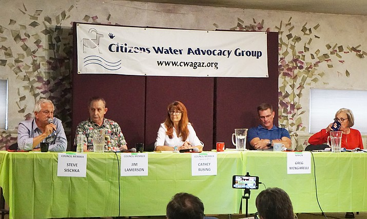 Candidates running for the Prescott City Council in the Aug. 27 primary answer a series of water-related questions during a Citizens Water Advocacy Group (CWAG) candidate forum Saturday, Aug. 3. The candidates are, from left, Steve Sischka, Jim Lamerson, Cathey Rusing, Greg Mengarelli and Billie Orr. (Cindy Barks/Courier)