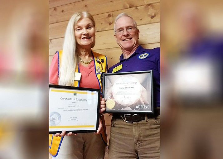 Williams Lions Club Secretary Billie Jene Watt and President George Watt hold recognitions from the Lions Club International Presidents Dr. Naresh Aggarwal and Gudrun Yngvadottir. (Submitted photo)
