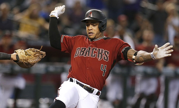 Arizona Diamondbacks' Ketel Marte crosses home plate after hitting an inside-the-park home run against the Washington Nationals in the third inning during a baseball game, Sunday, Aug. 4, 2019, in Phoenix. (Rick Scuteri/Associated Press)