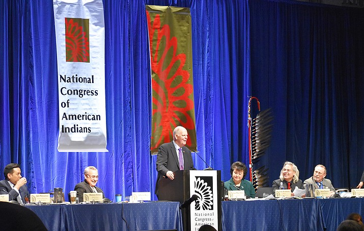 U.S. Representative Tom O'Halleran speaks at the National Congress of American Indian. (Submitted photo)