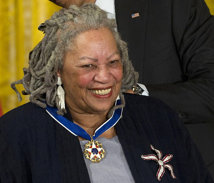 Author Toni Morrison receives her Medal of Freedom award during a ceremony in the East Room of the White House in Washington. The Nobel Prize-winning author has died. Publisher Alfred A. Knopf says Morrison died Monday, Aug. 5, 2019 at Montefiore Medical Center in New York. She was 88. (Carolyn Kaster/Associated Press, File)