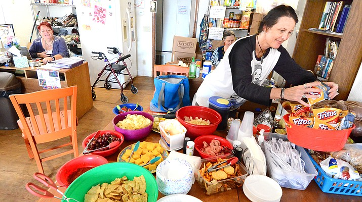 Food is spread out at the Verde Valley Homeless drop-in center on Monday. VVN/Vyto Starinskas
