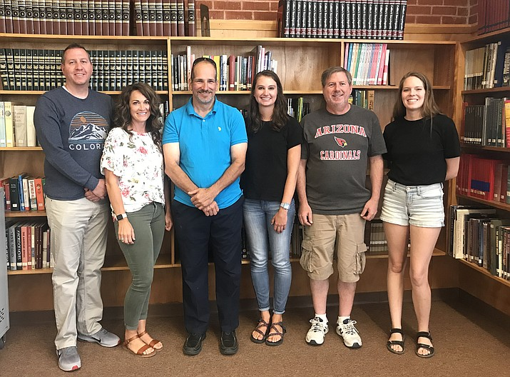 Williams Unified School District welcom new faculty and teachers for the 2019-2020 school year. From left: Williams High School Principal Eric Evans, fourth grade teacher Darcy Evans, CTE teacher Edward Kmetz, middle school math teacher Tessa Costich, high school resource teacher Thomas Sanzone and art teacher Jenna Rabe. (Photo/WUSD)