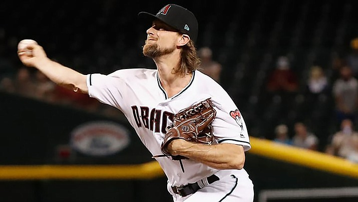 Mike Leake, in his Diamondbacks debut after being acquired in a trade with Seattle on July 31, allowed two earned runs on 11 hits. (Photo courtesy of Arizona Diamondbacks)