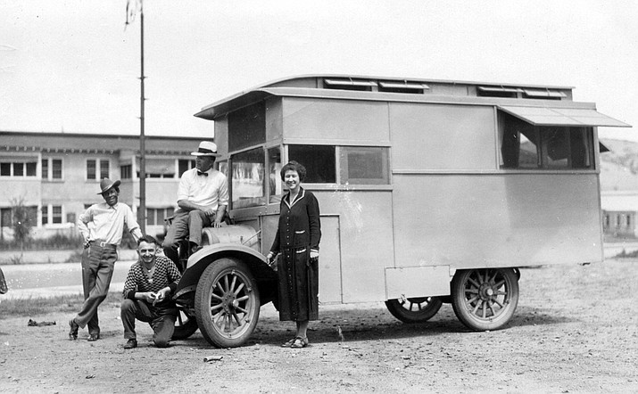 Willard, Ethel and friends in front of their caravan. (Courtesy of the author and exhibit creator.)