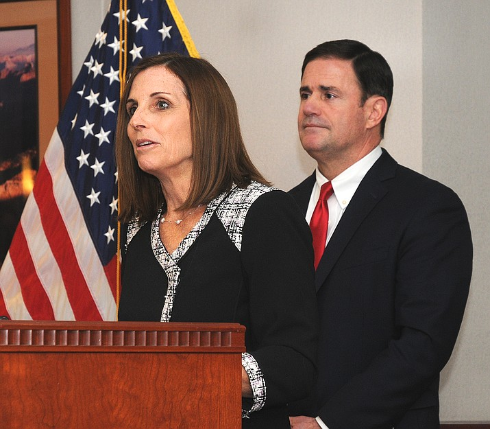 Martha McSally in late 2018 when she was tapped by Gov. Doug Ducey to take the U.S. Senate seat occupied by John McCain until his death earlier that year. (Howard Fischer/Capitol Media Services)