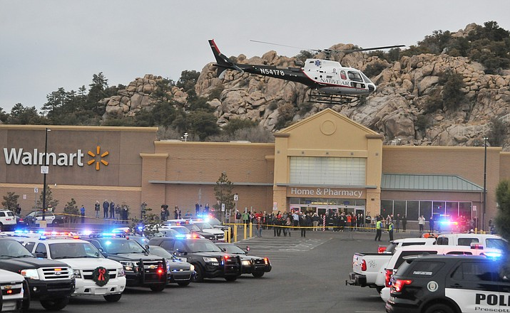 This photo shows police cars lined up for a 2017 Shop with a Cop event in Prescott. (Les Stukenberg/Courier, file)