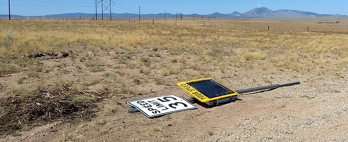 Yavapai County Sheriff's Office (YCSO) deputies on Aug. 8 said they found this stolen electronic speed limit sign that in late July went missing near the intersection of North Poquito Valley Road and Esteem Way in Prescott Valley. (YCSO Courtesy)