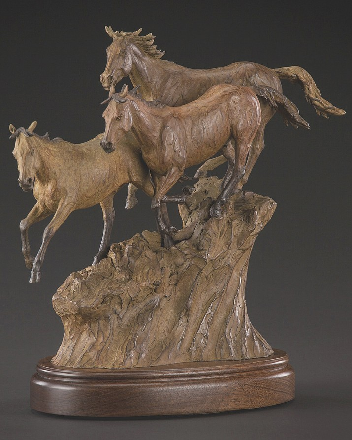 "Artist and Prescott High alum Bill Nebeker has donating ""Born to Run,"" a bronze of running horses as the grand prize in the Half Century Club's drawing. (Courtesy)"