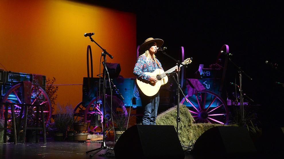 Trinity Seeley performs in the opening ceremonies at the 32nd Annual Arizona Cowboy Poets Gathering Friday, August 9, 2019, being held at the Prescott campus of Yavapai College. The event continues Saturday with workshops from 9 a.m. to 5 p.m. and a show, tickets required, at the Performance Hall at 7 p.m. featuring Mark Munzert, Gail Steiger, Jay Snider and The Cowboy Way Trio. (Les Stukenberg/Courier)