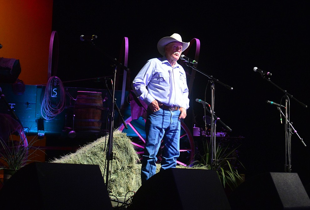 Chris Isaacs recites The Flying Horse in the opening ceremonies at the 32nd Annual Arizona Cowboy Poets Gathering Friday, August 9, 2019, being held at the Prescott campus of Yavapai College. The event continues Saturday with workshops from 9 a.m. to 5 p.m. and a show, tickets required, at the Performance Hall at 7 p.m. featuring Mark Munzert, Gail Steiger, Jay Snider and The Cowboy Way Trio. (Les Stukenberg/Courier)