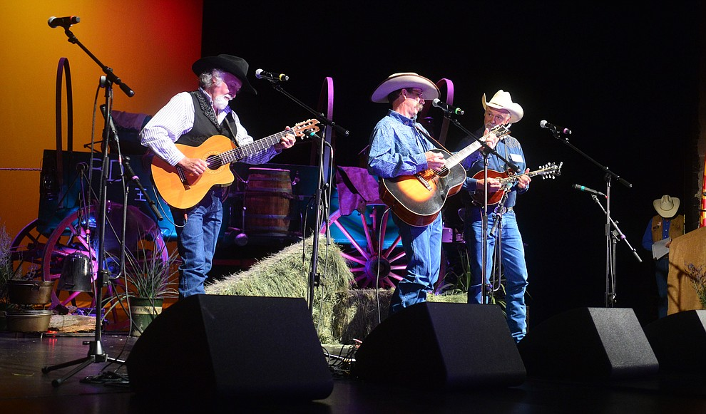 The Cowboy Way Trio performs in the opening ceremony at the 32nd Annual Arizona Cowboy Poets Gathering Friday, August 9, 2019, being held at the Prescott campus of Yavapai College. The event continues Saturday with workshops from 9 a.m. to 5 p.m. and a show, tickets required, at the Performance Hall at 7 p.m. featuring Mark Munzert, Gail Steiger, Jay Snider and The Cowboy Way Trio. (Les Stukenberg/Courier)