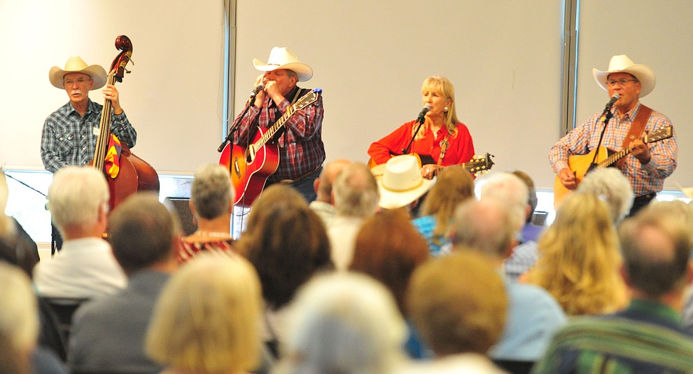 The Rusty Pistols Reloaded perform in the first breakout session at the 32nd Annual Arizona Cowboy Poets Gathering Friday, August 9, 2019, being held at the Prescott campus of Yavapai College. The event continues Saturday with workshops from 9 a.m. to 5 p.m. and a show, tickets required, at the Performance Hall at 7 p.m. featuring Mark Munzert, Gail Steiger, Jay Snider and The Cowboy Way Trio. (Les Stukenberg/Courier)