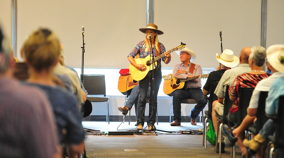 Trinity Seeley performs in the first breakout session at the 32nd Annual Arizona Cowboy Poets Gathering Friday, August 9, 2019, being held at the Prescott campus of Yavapai College. The event continues Saturday with workshops from 9 a.m. to 5 p.m. and a show, tickets required, at the Performance Hall at 7 p.m. featuring Mark Munzert, Gail Steiger, Jay Snider and The Cowboy Way Trio. (Les Stukenberg/Courier)