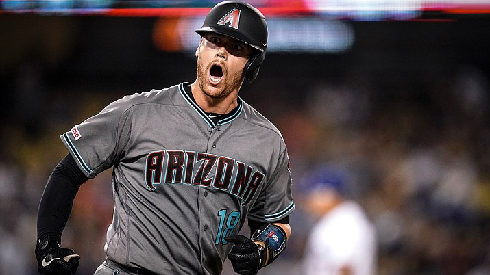 After Carson Kelly drove his tying shot to right off Dodgers closer Kenley Jansen, Arizona's catcher added a solo shot to left for the first multi-homer game of his career to lead the D-backs to a 3-2 victory over the Dodgers. (Photo courtesy of Arizona Diamondbacks)