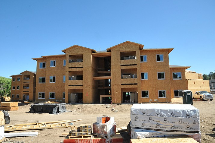 The new Creekview Village Apartments, a 72-unit family apartment complex seen here undergoing construction in July at 519 Miller Valley Road in Prescott, are being built with low-income housing tax credits from the Arizona Department of Housing. (Doug Cook/Courier)