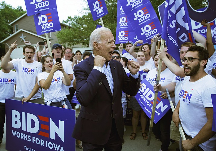 Former Vice President and Democratic presidential candidate Joe Biden meets with supporters before speaking at the Iowa Democratic Wing Ding at the Surf Ballroom, Friday, Aug. 9, 2019, in Clear Lake, Iowa. (John Locher/AP)