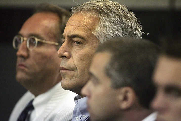 In this July 30, 2008 file photo, Jeffrey Epstein appears in court in West Palm Beach, Fla. Epstein has died by suicide while awaiting trial on sex-trafficking charges, says person briefed on the matter, Saturday, Aug. 10, 2019. (Palm Beach Post, Uma Sanghvi/AP, File)