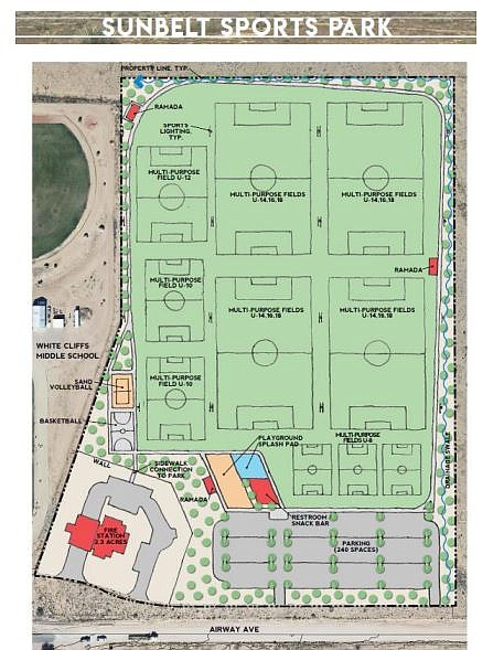 Plans for Sunbelt Park, by Desert Willow Elementary and White Cliffs Middle schools, were approved by City Council on Tuesday, Aug. 6. (City of Kingman photo)