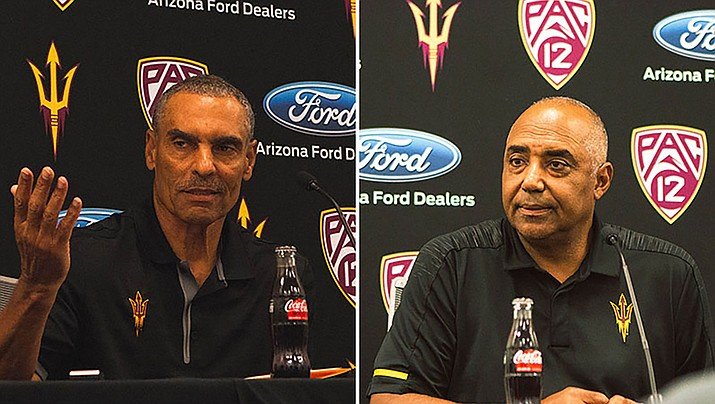 Herm Edwards, left, believes Marvin Lewis' many years of NFL experience will benefit the Sun Devils. (Photo by Matt Andujo/Cronkite News)