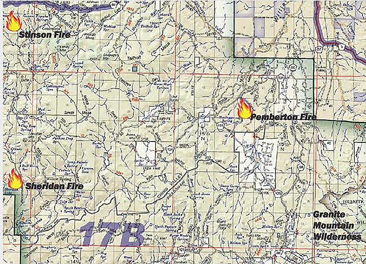 Three fires are burning on the Prescott National Forest, Chino Valley Ranger District, today, Aug. 10, 2019, in the Granite Mountain Wilderness northwest of Prescott. (PNF/Courtesy)