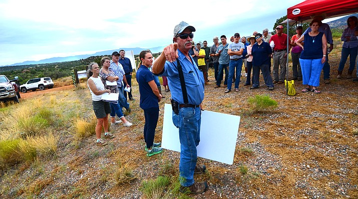 """I am here to beg of you to think about the impact on the land,"" said  Les Mickle, who said he was neighbor of the proposed glamping property. Caitlan Cullen, who represents Under Canvas, is to the left of Mickle. VVN/Vyto Starinskas"