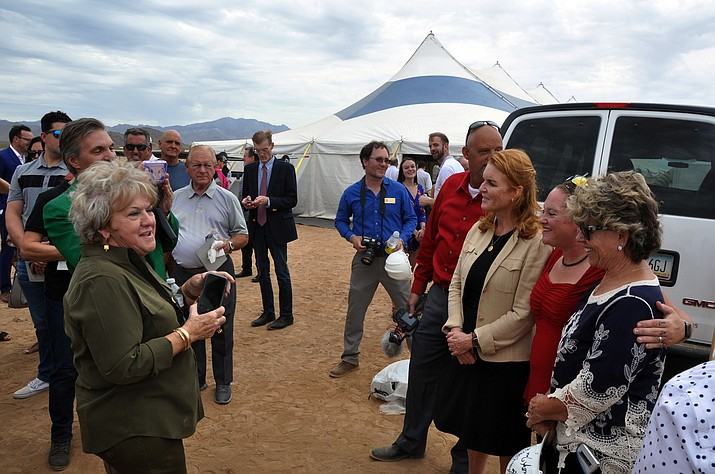 "Sara Ferguson (third from right), the Duchess of York and Pegasus Group Holdings brand ambassador, takes time out of her busy schedule to talk with special guests who attended the Pegasus Group Holdings' $3 billion project nicknamed ""The Hive"" during the groundbreaking ceremony in Golden Valley. (Photo by Butch Meriwether/For the Miner)"