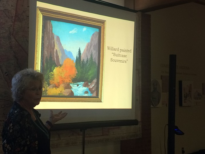 Carolyn O'bagy Davis speaking about Willard Page and his paintings at Sharlot Hall Museum Saturday, Aug. 10. Many of Page's works are on display in the museum in the Willard J. Page, Artist on the Southwest Road exhibit through January 2020. (Jason Wheeler/Courier)