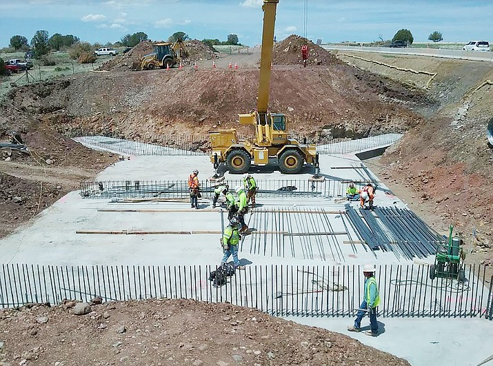 Replacing the Meath Wash Bridge on Highway 89 south of Ash Fork, pictured in May. The work is complete now and on Aug. 15 crews will shift traffic onto the new bridge. (ADOT/ Courtesy, file)
