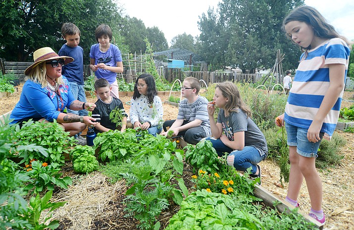 Teacher Honeybee Slayton talks about some of the different kinds of plants in the bed in the 5th grade gardening class at Mountain Oak Charter School in Prescott Tuesday, Aug. 6, 2019. (Les Stukenberg/Courier)