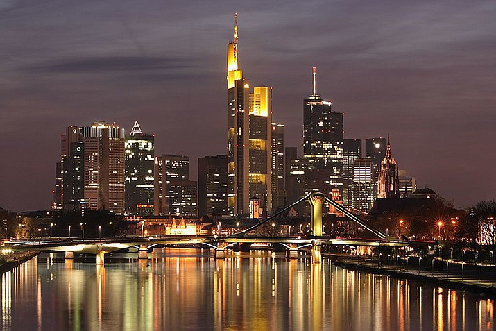 The downtown Frankfurt, Germany skyline seen from Deutschherrn Bridge in 2006. (Photo by Nicolas Scheuer, cc-by-sa-2.5, https://bit.ly/2OScInn)