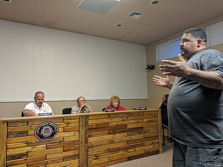 Arthur Garnica expresses his numerous concerns about the NACFD Board of Directors at a July 25 meeting. (Photo by Travis Rains/Daily Miner)