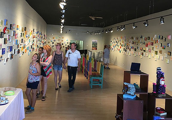 Six-by-six on Route 66 show starts Sept. 6 for First Friday and runs through Sept. 28. The photo above is from last years show and the walls are covered in entries. (Photo courtesy of KCA)