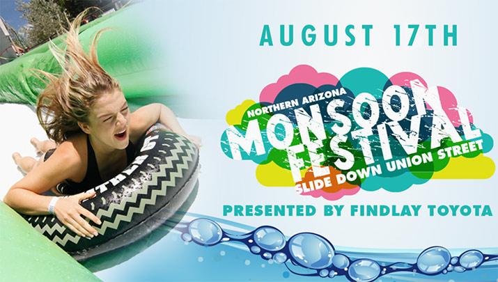 Slide down Union Street at the Northern Arizona Monsoon Festival, Aug. 17