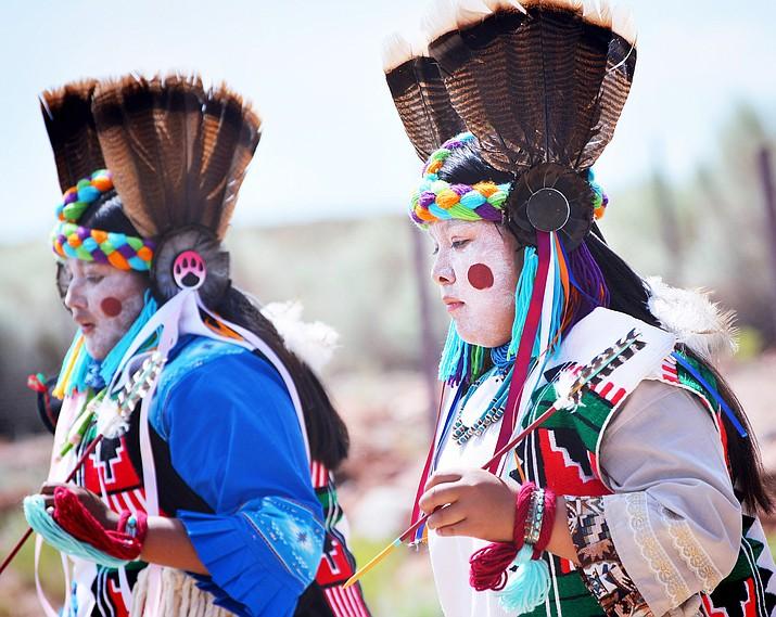 Hopi Dancers dance the Comanche Dance at Homolovi Park Aug. 3. (Todd Roth/NHO)