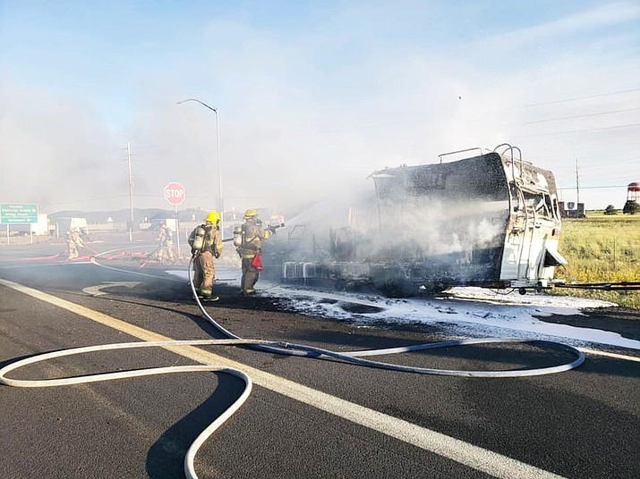 Ponderosa Fire Department responds to a fully engulfed RV fire July 21. The fire blocked the westbound I-40 on ramp in Bellemont until crews were able to extinguish the blaze and the RV was removed. (Photo/Ponderosa Fire Department)