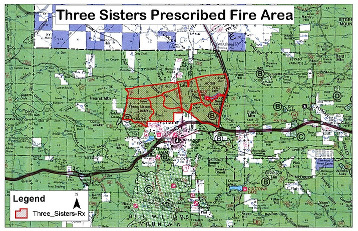 Kaibab National Forest is planning a prescribed burn dubbed just north of Williams in September or October. (Kaibab National Forest/map)