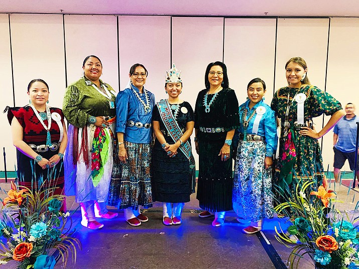 Ceremonial Queen contestants pose with Navajo Nation First Lady Phefelia Nez and Second Lady Dottie Lizer. (Photo/Office of the President and Vice President)