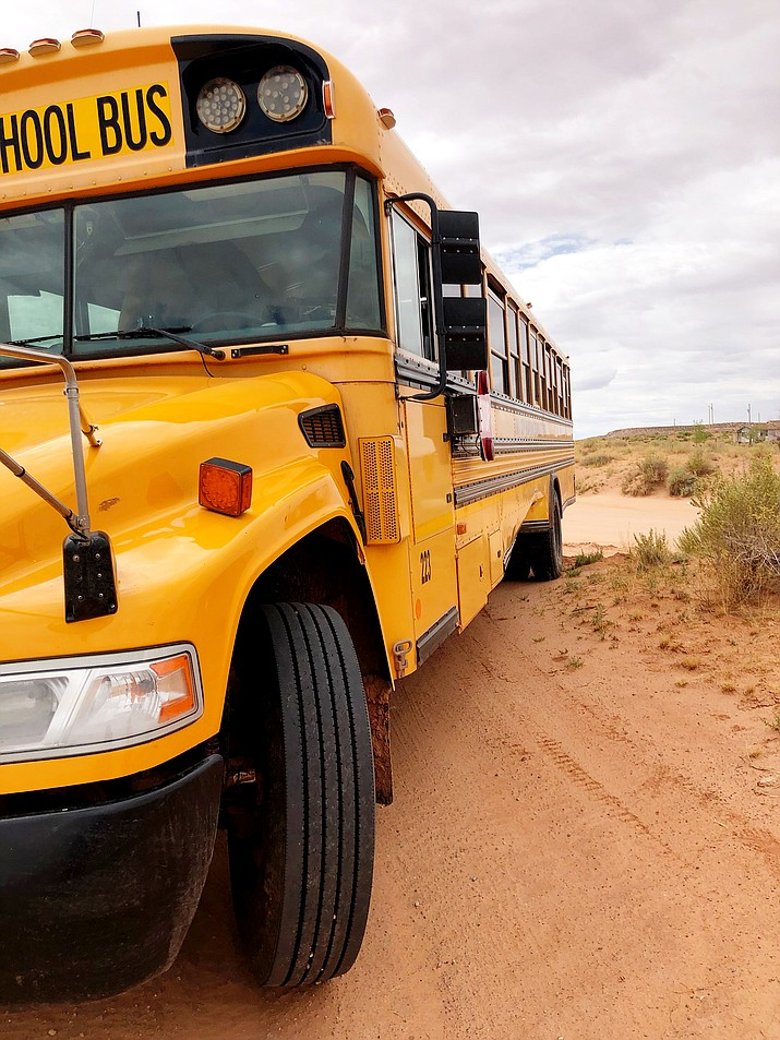 An arrest was made Aug. 8 after a vehicle collided with a school bus in Tuba City. (Photo/Navajo Nation Police