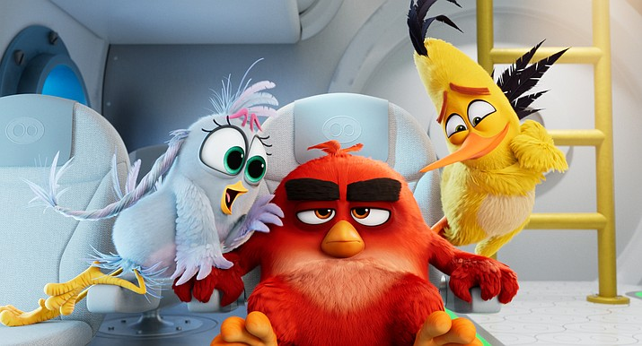 From left, Silver (Rachel Bloom), Red (Jason Sudeikis) and Chuck (Josh Gad) in Columbia Pictures and Rovio Animations' Angry Birds 2. (Sony Pictures via AP)