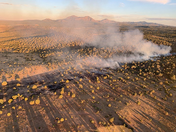 An aerial photo of the Pemberton Fire, which is burning 13 miles northwest of Prescott in the Chino Valley Ranger District. (Prescott National Forest/Courtesy)