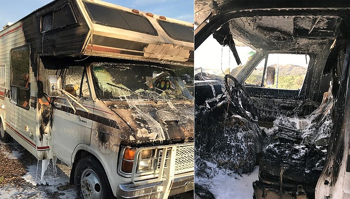 On Aug. 8, helpful campers from the Thousand Trails RV Park used fire extinguishers and garden water hoses to contain an RV fire.