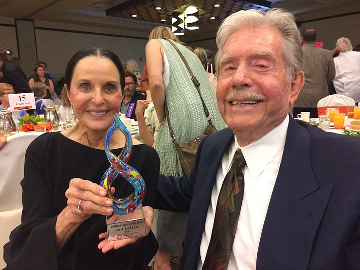 Jim and Linda Lee, The Arizona Community Foundation of Yavapai County Joy of Giving Philanthropist of the Year award recipients. (Nanci Hutson/Courier)